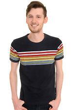 Mens Run & Fly 60s 70s Retro Rainbow Striped T Shirt
