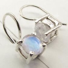 925 Silver RAINBOW MOONSTONE Intricate Setting HANDMADE UNUSUAL Earrings 1.6 CM
