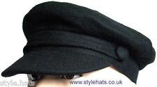 Fiddler Captain Cap 1960s Vintage Style Hat Wool by G&H Hats Black