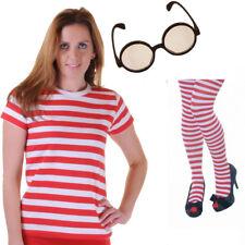 LADIES RED / WHITE STRIPED SOCKS T SHIRT GLASSES SET Geek STYLE FANCY DRESS SET