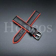 20 MM Red Rubber Strap Band Replacement Black Carbon Fiber 2020 Vintage Sport