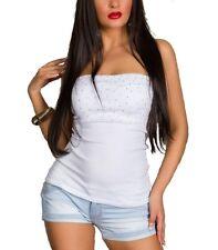 sexy stretch Bandeau Tube Bustier Top mit Nieten Baumwolle Weiß