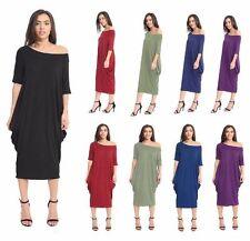 Womens Ladies Off Shoulder Baggy Short Sleeves Lagenlook Midi Dress Plus Size