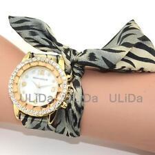 Sweet Crystal Dial Colors Cloth Wristwatches Flower Women Leopard Dress Watch
