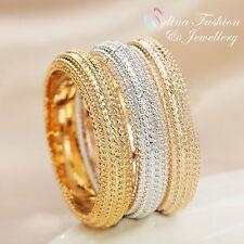 18K Yellow, Rose & White Gold Plated Stylish Triple Band Ring Set