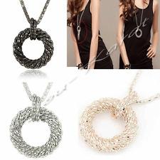 Lange Halskette Gedrehter Ring Kette Anhänger Rose Gold Silber Long Necklace