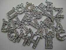 Lettera Alfabeto Pendenti Charm Perline: una lettera Placcato Argento con Strass