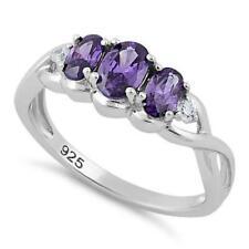 Anillo Alianza de Boda Compromiso Piedras Violetas de Plata de Ley Esterlina 925