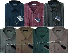 "New Mens Long Sleeve Poly Cotton Stripe Shirt 15.5"" - 18"" By Tom Hagan"