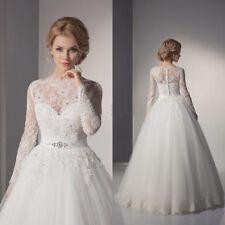 Lace Bridal Ball Gown Wedding Dress Floor Length Long Sleeve Sashes Crystal Bead