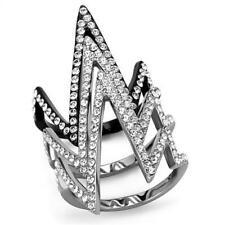2619 SIMULATED DIAMOND ring zig zag LONG FINGER PAVE SET STAINLESS STEEL BLACK
