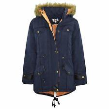 Kids Jacket DESIGNER'S Navy Parka Coat Faux Fur Hooded Top Christmas Gift 3-13