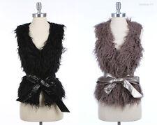 FAUX Fur Vest with Belt VARIOUS COLOR and SIZE