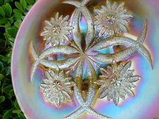 "MINT~c1911""DUGAN""CARNIVAL GLASS""PEACH OPALESCENT""FOUR FLOWERS 10.75""CHOP PLATE"