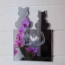 Love Heart Tail 2 Cats Acrylic Mirror