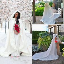 2018 Bridal Winter Wedding Cloak Cape Hooded with Fur Trim Long Bridal Winter
