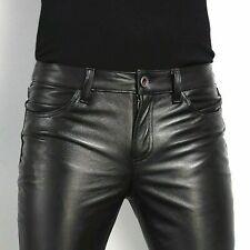 Men's Genuine Leather slim fit Biker trouser pants