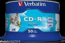 CD-R PRINTABLE Verbatim cdr 100 % Vergini Vuoti Stampabili 52 X 700 Mb 43438