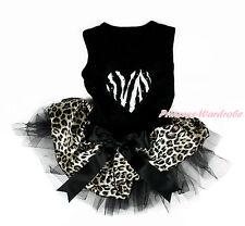 Valentine Zebra Heart Black Sleeveless Black Leopard Skirt Dog Dress Pet Outfit