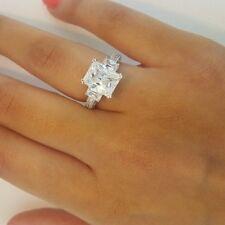 4 CT Emerald 3 Stone Diamond Engagement Wedding Ring 14k Solid White Gold