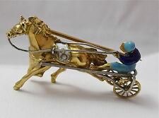 VINTAGE 18K YELLOW GOLD & ENAMEL HARNESS HORSE RACING JOCKEY BROOCH PIN 8.3Gr