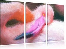 schöner Flamingo Spezial 3-Teiler 3-Teiler Leinwandbild Wanddeko Kunstdruck