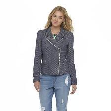 Metaphor Womens Tweed Jacket Asymmetric Lined Zipper Navy Multi size M NEW