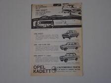 advertising Pubblicità 1963 OPEL KADETT/CARAVAN 1000/L