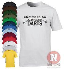 8º día Dios desempeñado Dardos Funny Pub Equipo Camiseta Nueva 10 Colores 6 Tamaños