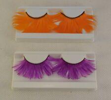 feathers false eyelashes Reusable make up eyelashes extension orange or purple