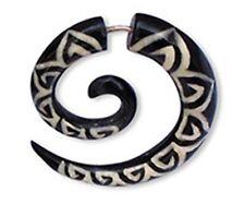 Fake Ear Gauge Spiral Split Hook Carved Handmade Inlay Horn Bone Silver Bar
