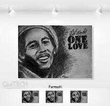 Bob Marley - 3 - Quadro stampa su Tela Pelle Canvas Dipinto Arte Moderna
