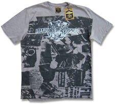 Harley Davidson Trunk LTD Newsprint Mens Grey T Shirt New Official NWT