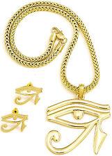 Eye Of Horus Necklace & Earrings Set New Pendant 18 Inch Franco Style Egyptian