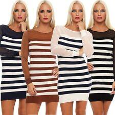 10891 miniabito a maglia strisce Long Pullover Maglione vestito pullover lavorato a maglia