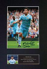 SERGIO AGUERO Man City Signed Mounted Autograph Photo Prints A4 455