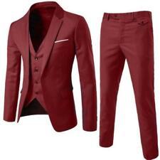 Mens Slim Fit Dress Formal Bridegroom Button Wedding Suits Coat/Vest/Pants 3pcs