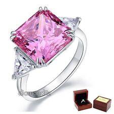 925 Sterling Silver Wedding Bridal Ring 8 Ct Princess Pink Lab Created Diamond