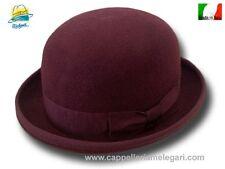Melegari Cappello a Bombetta in feltro di lana Bordò
