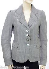 Veste blazer lin gris rayures blanches DDP Women Femme taille S