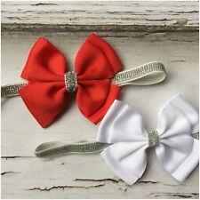 Miss ESTELLE - CHRISTMAS Newborn Baby Girls Glitter Stretch Bow Headband