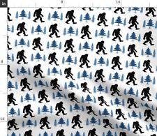 Bigfoot Big Foot Sasquatch Yeti Legend Blue Fabric Printed by Spoonflower BTY