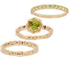 Set of 3 Natural Peridot Gemstone Byzantine Stack Ring Real 14K Yellow Gold QVC