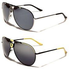 Top Bar Logo Bridge Khan Sleek Metal Frame Mens Aviator Sunglasses