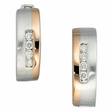585 Gold Weißgold Rotgold bicolor teilmatt Creolen rund 8 Diamanten Ohrringe