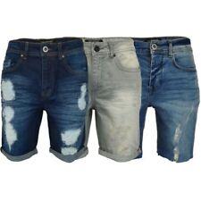 hommes déchiré short jeans Threadbare roulé longueur genou inachevé ourlet été
