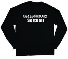 long sleeve t-shirt for men softball mom soft ball dad funny saying tee shirt