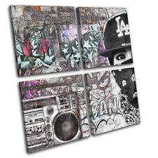 Gangster Street Urban Boombox Graffiti MULTI CANVAS WALL ART Picture Print