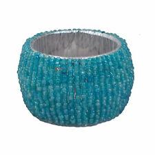 "Napkin Rings Holder Round Turquoise Glass Beaded 1.5"" Inch Handmade Table Decor"