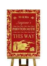 Rojo Y Oro Photobooth este modo derecho Personalizado Boda Signo